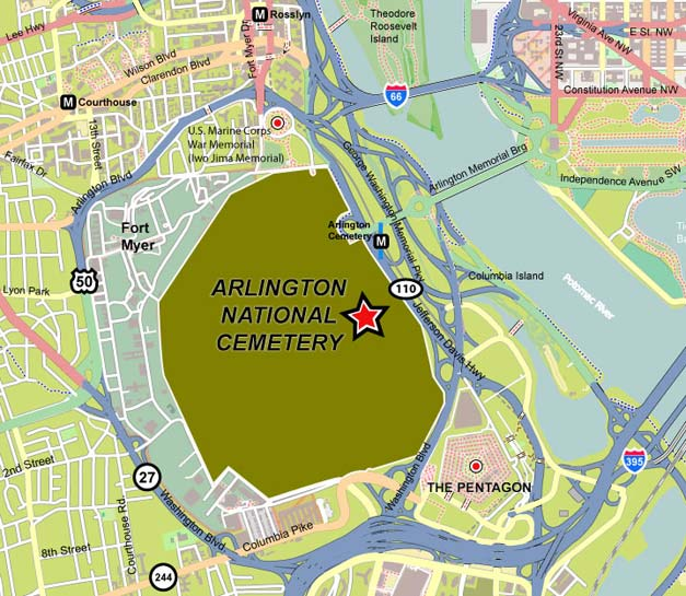Arlington National Cemetery Concierge Maps Information - Arlington cemetery on us map